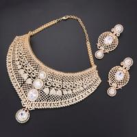 Роскошный 2 шт. геометрический Дубай Золотой набор украшений для женщин невесты индийское Африканское свадебное ожерелье серьги, браслет, к