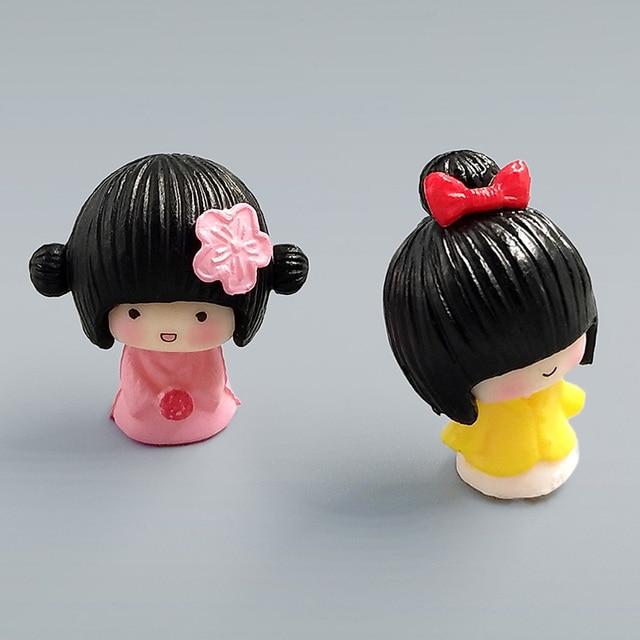 2pc/lot mini Janpanese Girl figurine Bonsai Moss people ornament home decor miniature fairy garden decoration accessories modern 4