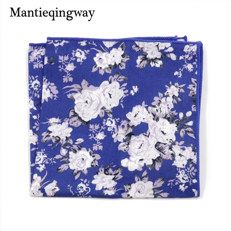 Mantieqingway Men's Business Casual Square Pocket Handkerchief Wedding Hankies Cotton Paisley Handkerchiefs Floral Printed Hanky