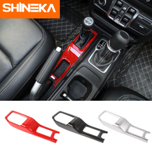 SHINEKA Automotive Interior Stickers ABS Car 4WD Gear Shift Panel Decoration Cover For Jeep Wrangler JL 2018+ Accessory