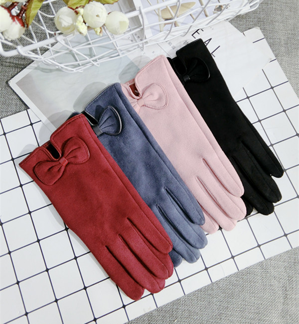 New Korean Touch Screen Gloves Wool Bow Warm Knitted Women Spring Winter Gloves Red Pink Gray Black Elegant Mittens