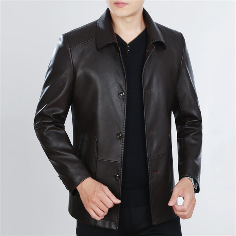 Spring Autumn Men Leather Jacket 2019 New Mens Business Casual Sheepskin Coats Plus Velvet Thick Loose Warm Male Outerwear N599