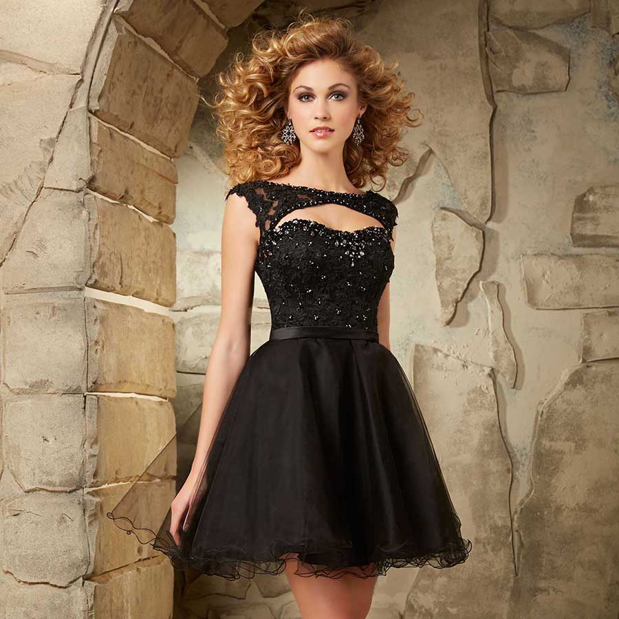 2016 Short Homecoming Dresses With Cap Sleeves Sparkle Crystals Y Open Back Lace Black Prom Dress Puffy In From Weddings Events On