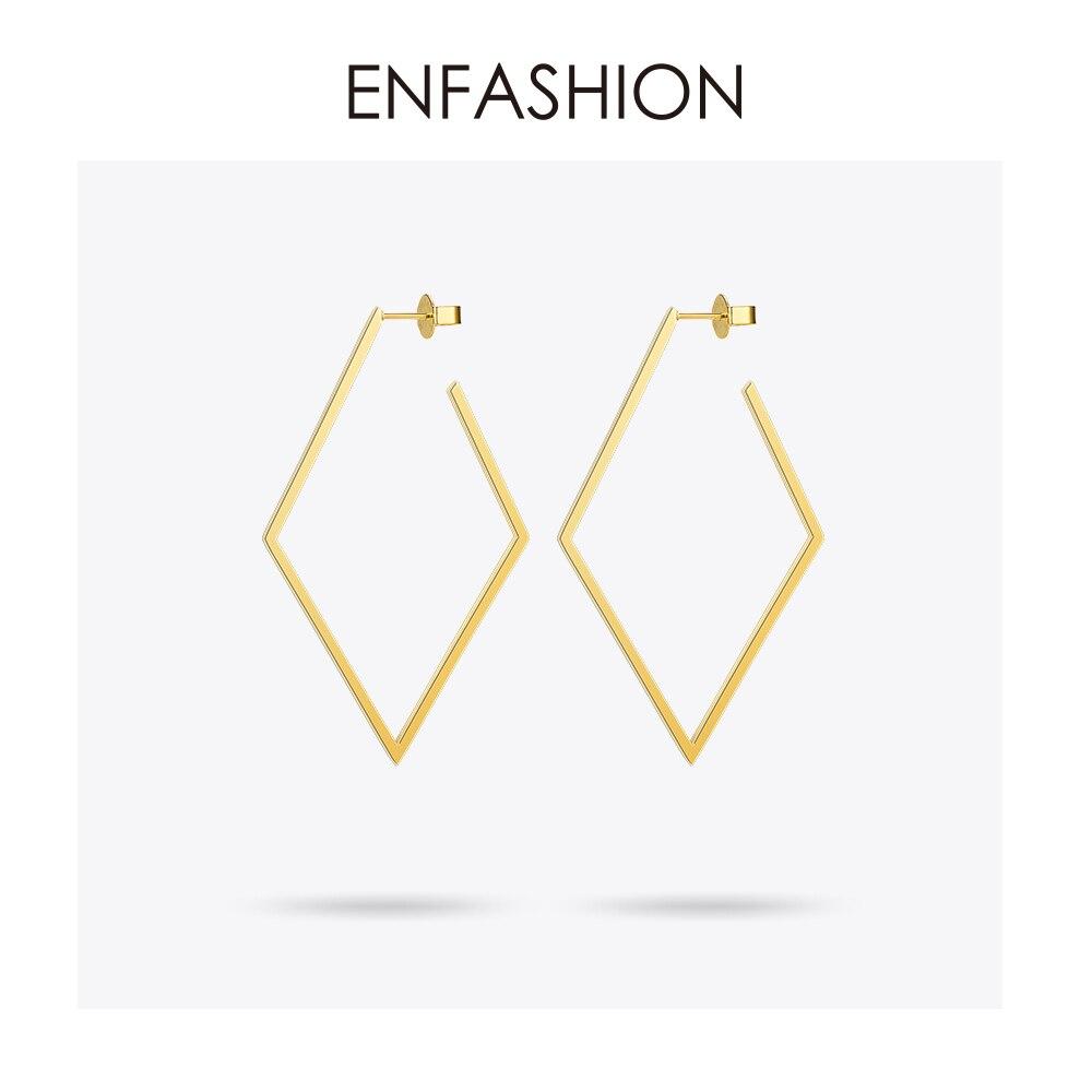 Jóias Enfashion Grande Geométrica rhombus Brincos de aço Inoxidável da cor do Ouro Longa Queda Brincos Para As Mulheres Brincos EB171035