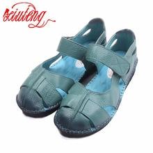 Xiuteng ручной работы женские кожаные сандалии для Летние Удобные мягкая подошва туфли с цветочным принтом Высокое качество Натуральная кожа повседневная обувь