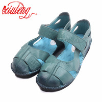 New Handmade Women Leather Sandals For Summer Comfortable Soft Bottom Flowers Shoes High Quality Genuine