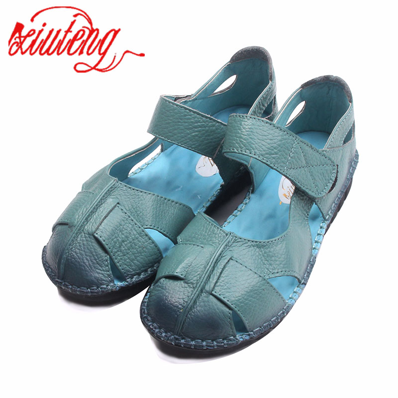 Xiuteng Handmade Women Leather Sandals For Summer Comfortable Soft Bottom Flowers Shoes High Quality Genuine Leather Casual Shoe