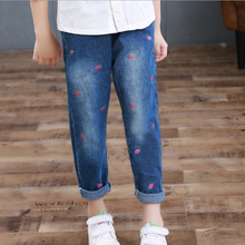 Baby Girls Pants 2017 New Autumn Strawberry Kids Pants Clothes Cotton Casual Elasticity Girls Jeans Full Children Clothing 2p070