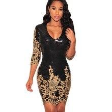 Autumn black clothing womens 2017 dresses mini bodycon gold sequin 3/4 sleeve dress mini sexy club wear vestido de festa 22794