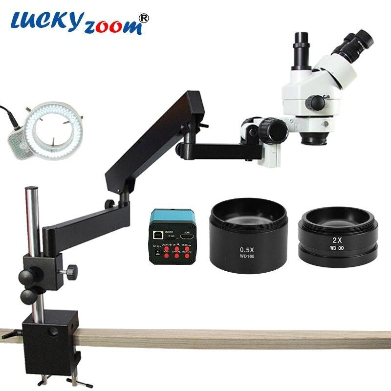 Lucky yzoom 3.5X-90X simul-focus bras articulé Microscope Zoom stéréo 14MP caméra HDMI 144 lumière LED Microscopio trinoculaire
