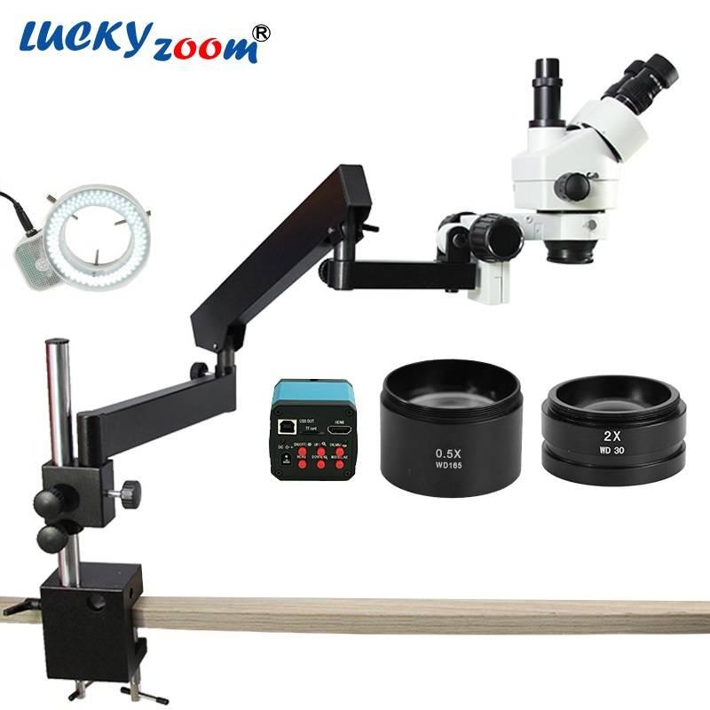 Lucky yzoom 3.5X-90X bras articulé simul-focus Microscope Zoom stéréo 14MP caméra HDMI 144 lumière LED Microscope trinoculaire