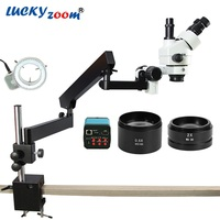 Luckyzoom 3.5X 90X Simul Focuse Articulating Arm Stereo Zoom Microscope 14MP HDMI Camera 144 LED Light Trinocular Microscopio