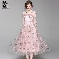 Printemps été piste designer femme robe arbre motif perlé brodé longue rose bubblegum couleur robe de bal marque robe