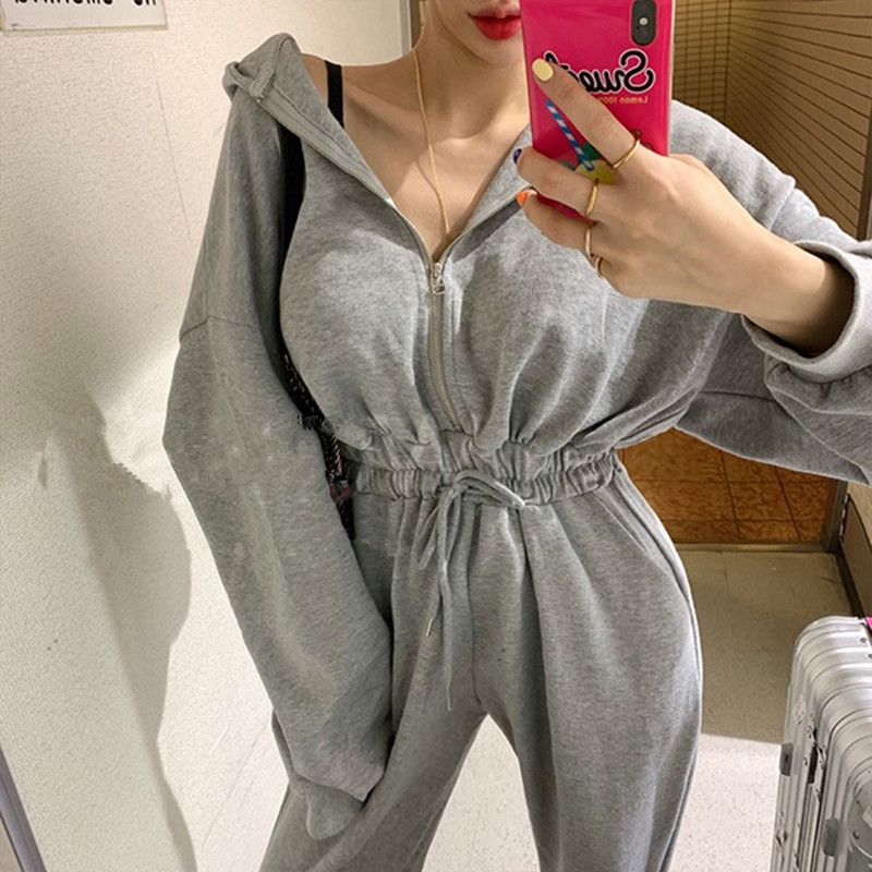 Spring Autumn Women Casual   Jumpsuits   Female Romper Hooded Zipper Sexy Outwear Jogging Outfits   Jumpsuit