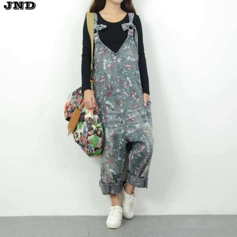 Free Shipping 2019 New Fashion Ladies Overalls Harem Pants Flower Printed Denim Jeans Loose Jumpsuits And Rompers Plus Size M L in Jumpsuits from Women 39 s Clothing