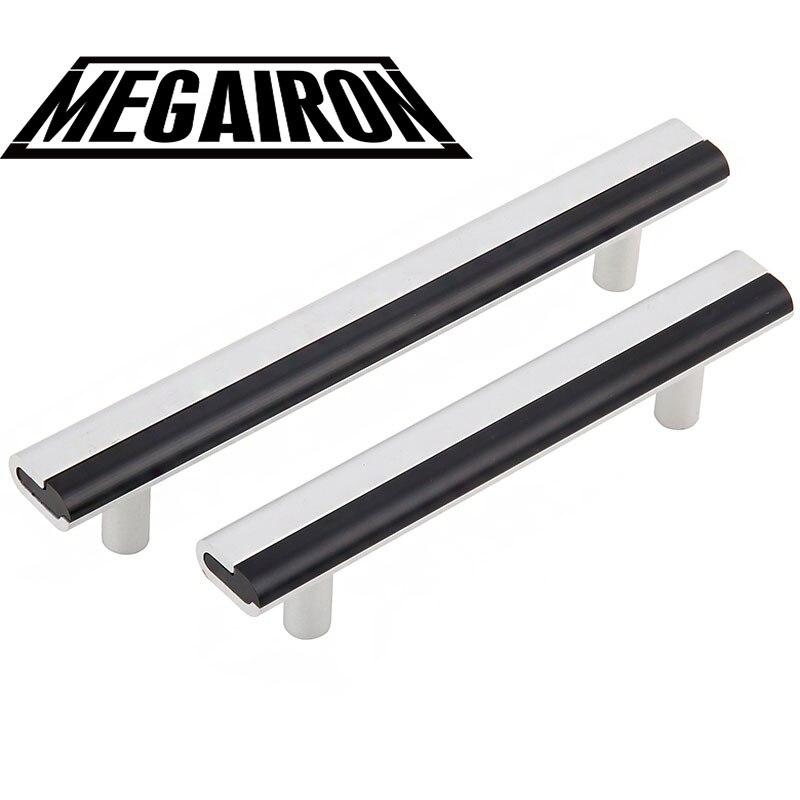 MEGAIRON Modern Door Handles Black White Kitchen door Handles Simple Wardrobe Knobs and Furniture Handles with Screws