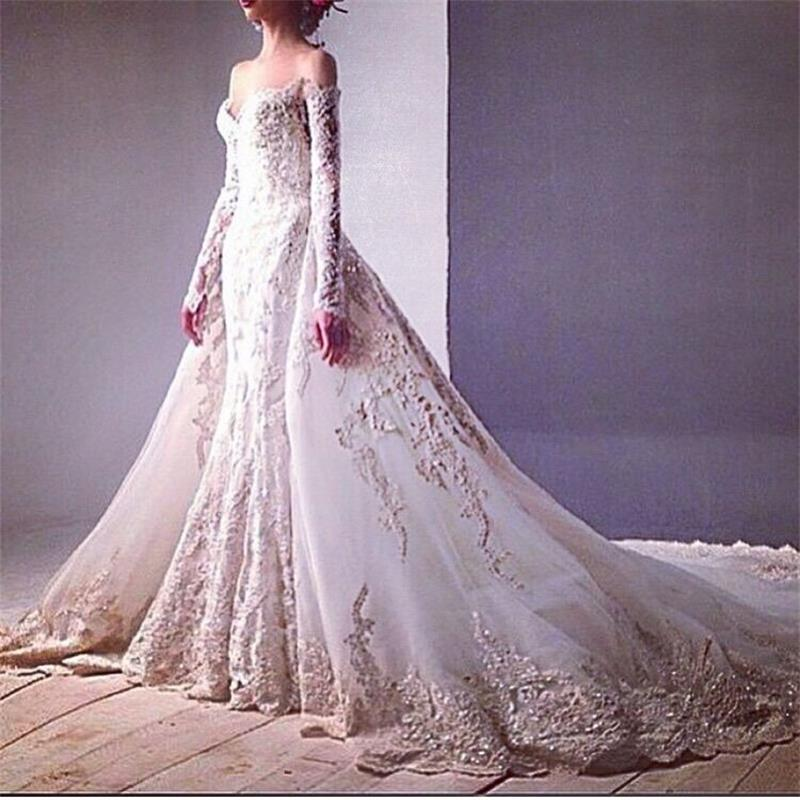 2016 luxury beaded appliques off the shoulder long sleeve for Detachable train wedding dress