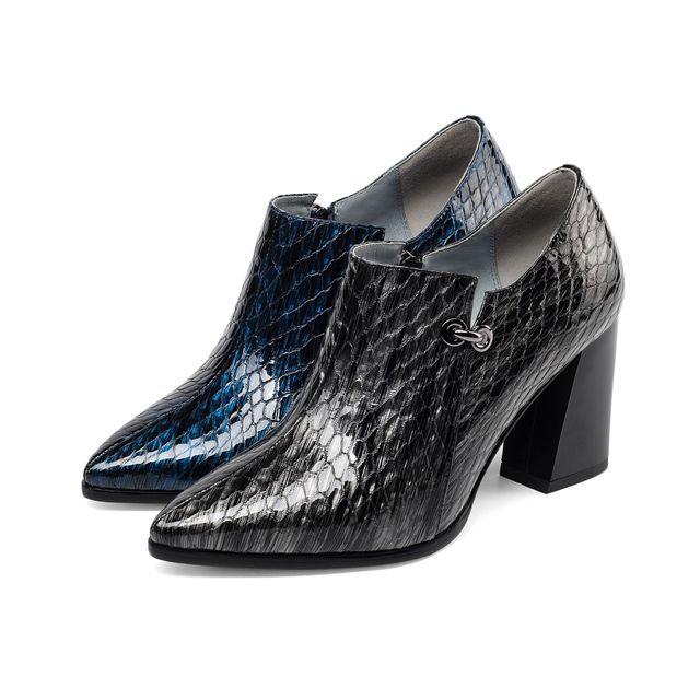 Décoratif Color Serpent Luxe Chaussures Élégant En Avec Simple Talons Dames Haute Épais De Gun blue Simples Mode Marque Femmes Cuir Bouche Pointu Profonde tqE1I