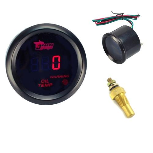 Motor Car 2 52mm Red LED Digital Oil Temperature Temp Gauge Universal