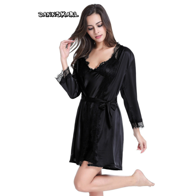 Xxl Plus Size Silk Robe Sets Satin Robe Set Robe Sexy Gown Sets