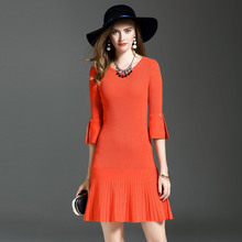 New Autumn Dress Women Solid Color Knitting Sweater Dresses Flare Sleeve O-Neck A-Line Large Pendulum Fishtail Party Women Dress