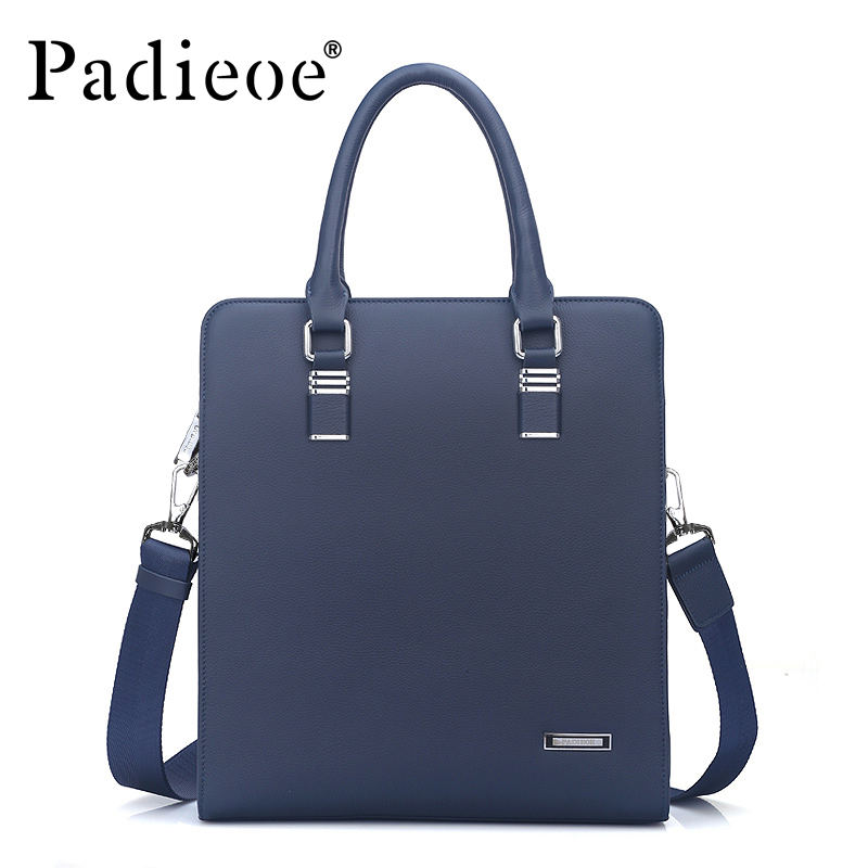 Padieoe High Quality Men's Shoulder Cowhide Messenger Bags Fashion Men Handbags Genuine Leather Business Briefcase For Men padieoe men s genuine leather briefcase famous brand business cowhide leather men messenger bag casual handbags shoulder bags