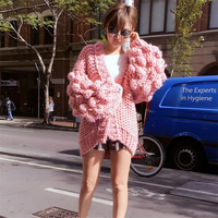Designer Vintage Street Fashion Styleblogger Oversized Custom Mum Handmade Cardigan Pom Pom Ball Lantern Sleeve Loose
