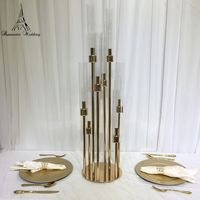 6PCS/lot Eight head Gold metal candle holder glass for wedding decoration