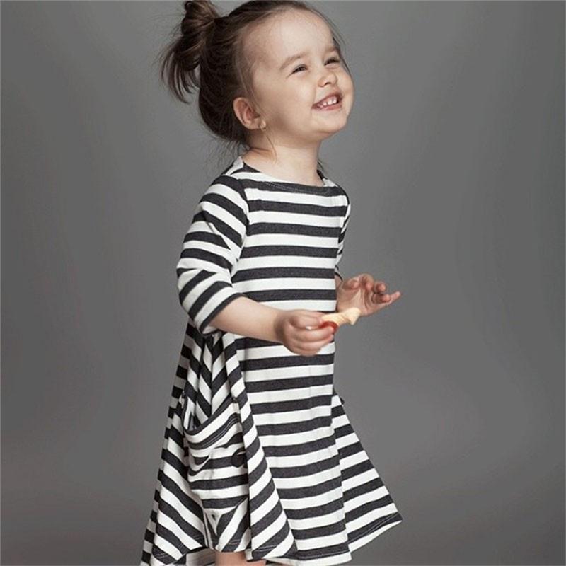 1efed0278d6c 2018 New Autumn Baby Girls Stripe Zebra Crossing Dress Children Baby ...