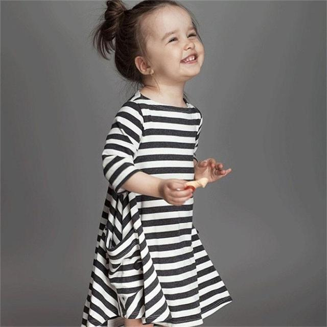2018 New Autumn Baby Girls Stripe Zebra Crossing Dress Children Baby  Clothing Cotton Frock Designs Kids School Wear Dress Size 6 a6825ea36