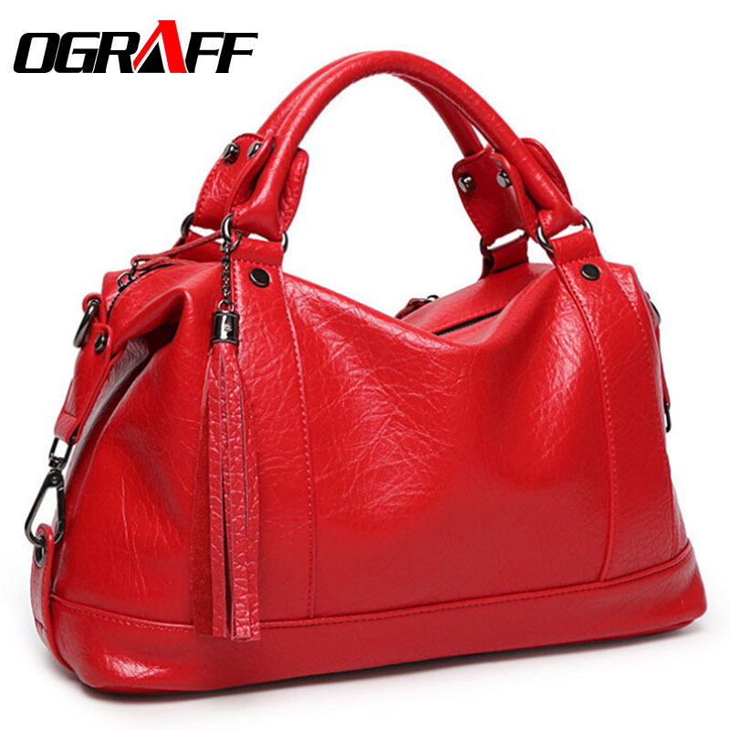 OGRAFF Boston font b Women b font font b Bag b font Tassel Female Leather font