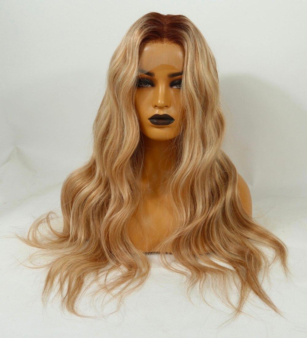 QueenKing cabelo Remy Brasileira do Laço do cabelo Humano Peruca Completa 150% Densidade Cor T4 Lemi/27/613 Cor Ombre perucas Perucas para as mulheres
