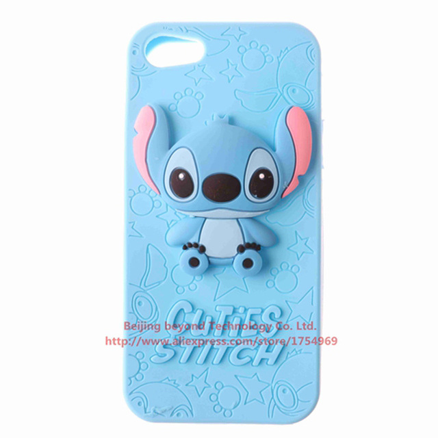 stitch phone case iphone 5s 3d bule stitch phone silicone soft cover for 7987