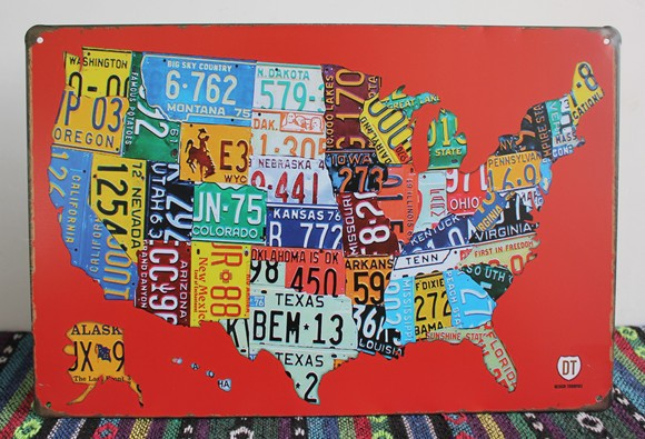 License plate! Map of the United States! vintage metal signs retro ...