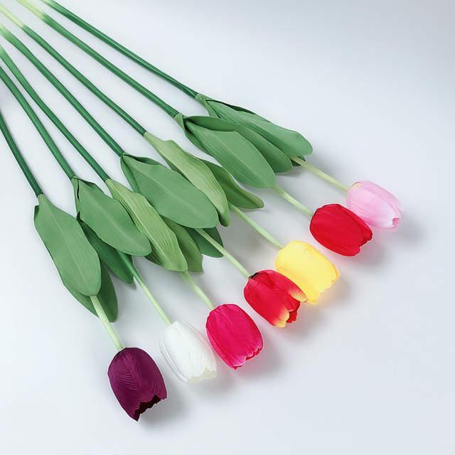 Online Shop Wholesale Big Size Silk Flower Wedding Bouquet Tulip