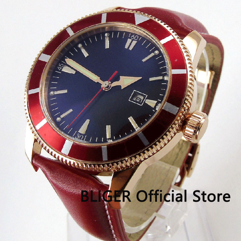 Solid BLIGER 46MM Mineral Glass Blue Sterile Dial Red Rotating Bezel Rose Golden Case MIYOTA Automatic Movement Men's Watch B130 цена и фото