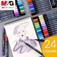 M & G 24 цвета двойной кончик акварельных маркеров, кисть маркер, маркеры для рисования, акварельная кисть, набор для рисования, ручка для рисов...