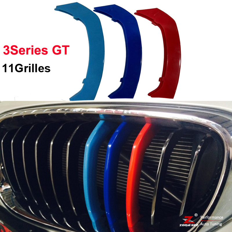 3D Styling Front Grille Trim Strips Cover Stickers for 2013-2016 BMW 3 Series GT 3GT F34 328i 320i 335i xDrive with 11 Grilles car front bumper mesh grille around trim racing grills 2013 2016 for ford ecosport quality stainless steel