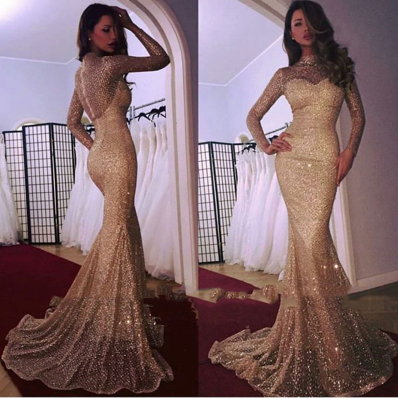 Abendkleider 2019 Sexy Sparkle Sequined Mermaid Evening Gowns High Collar Full Sleeves Long Abiye Prom Gowns