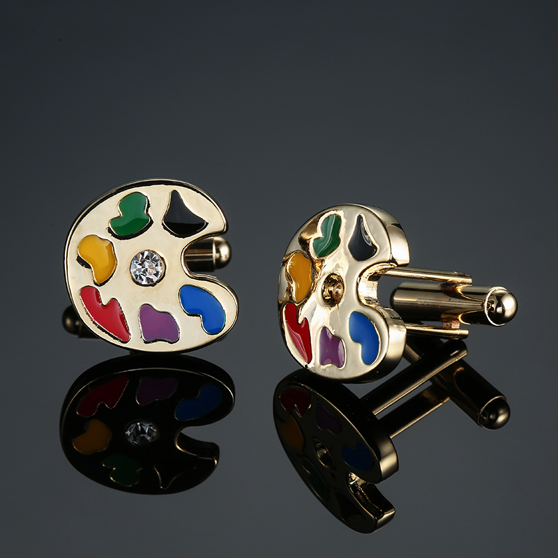 French Shirt Brand Classic Mens Jewelry Unique Wedding Groom Men Cuff links Gift Gold Artist Palette Cufflinks for Mens