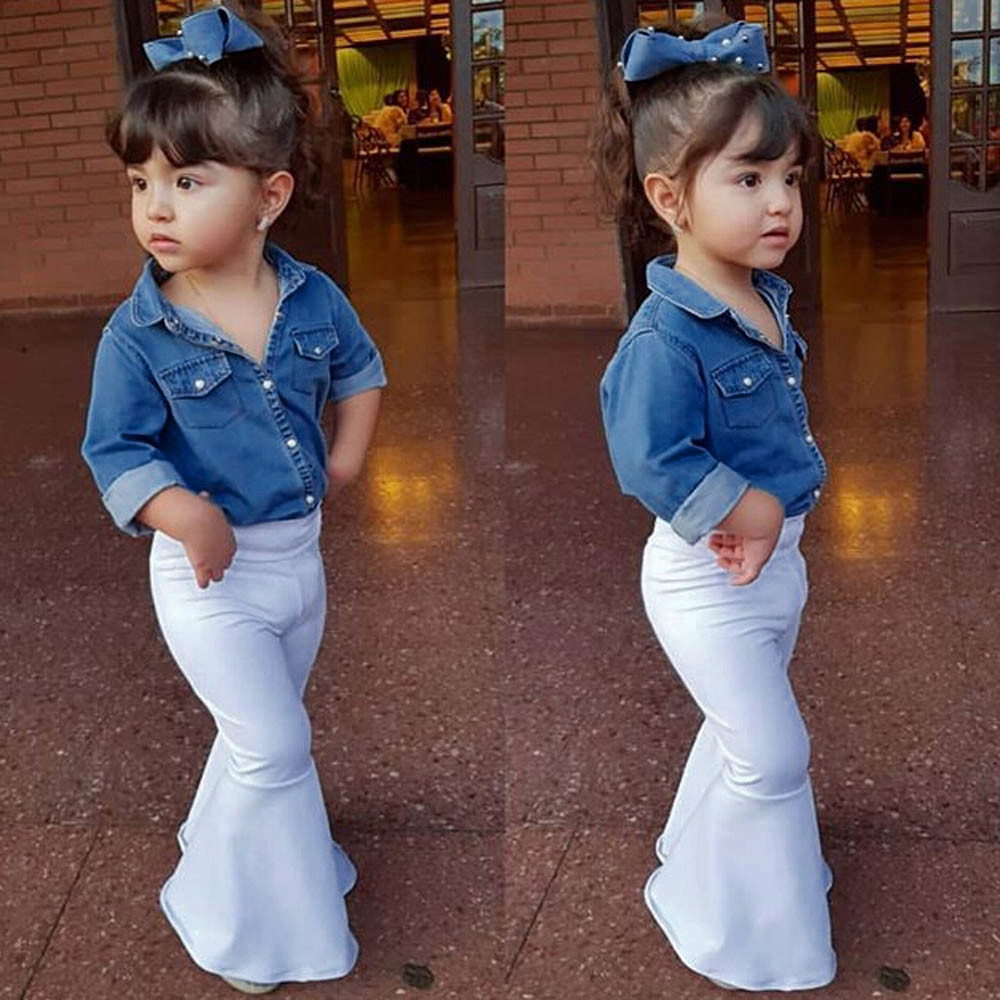 Telotuny Toddler  Girls Clothes Sets Cotton Long Sleeve Floral Denim Tops Shirt+Loose Pants Christmas  Outfits Sets Now 5