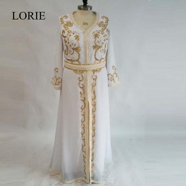 Sparkly Moroccan Prom Dresses White Gold 2018 Kaftan Puffy Chiffon Sexy Caftan  Long Sleeve Muslim Dubai Evening Dresses 79bc731e05ec