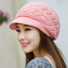 Fall Winter Beanies Knitted Hats Rabbit Fur Cap 8 Colors Snapback Cap Ladies Female Fashion Skullies Elegant Women Warm Hats Y1