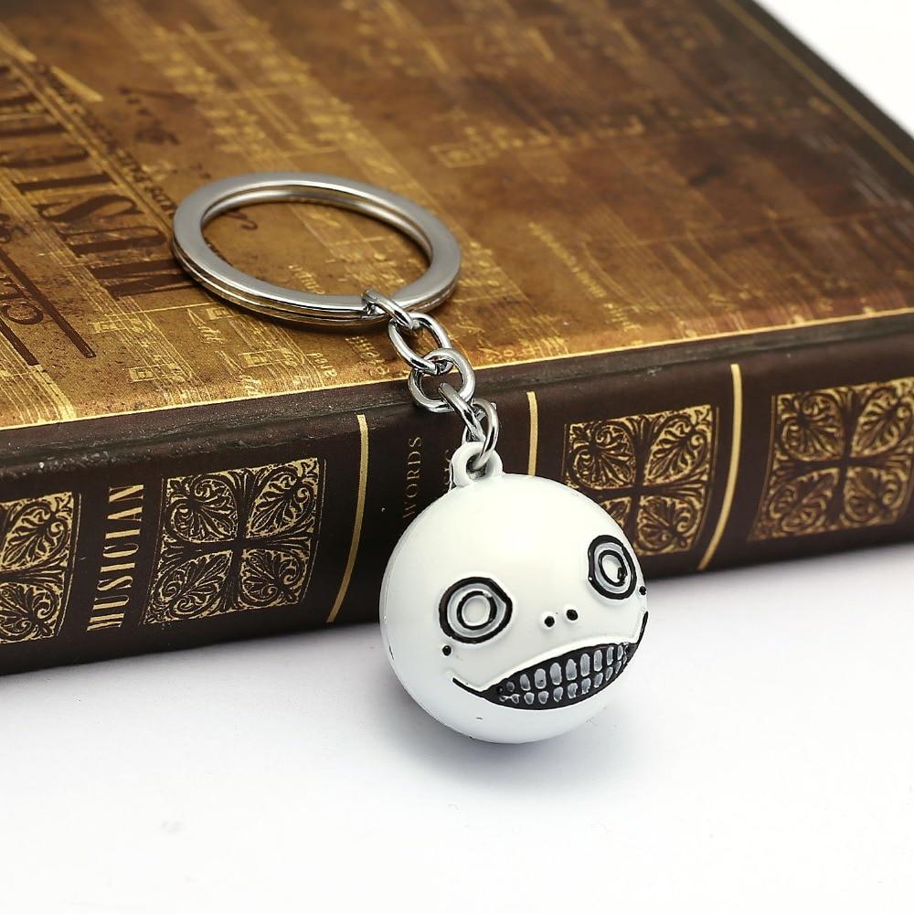 NieR Automata Keychain Robot 2B Emil No2 Type B Key Ring White Ball Metal Men Car Women Bag Key Chain Chaveiro Game Jewelry