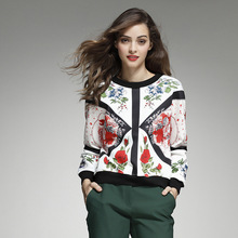 New 2016 autumn winter fashion thick T-shirts long sleeve sweater floral patterns print women tops