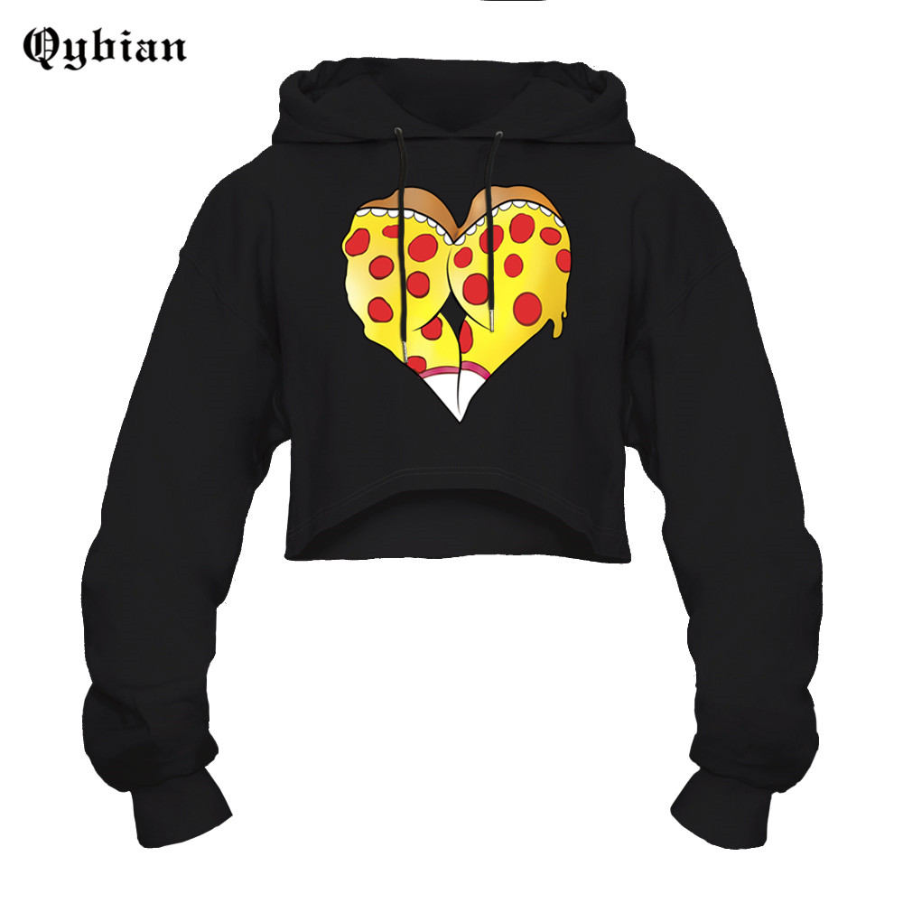 Qybian Heart shaped pizza 3D Print Sexy Cropped Loose Casual Sweatshirts  Crop Hoodie Short Pullover Hooded Pullovers Pulls -in Hoodies   Sweatshirts  from ... 4ead95bb6a03