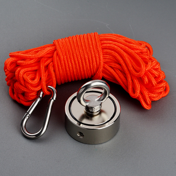 Double sided 200KG Magnet Power Magnetic Material Base Strong Neodymium Magnet Hole Fishing Magnets with 20m Rope and Gloves