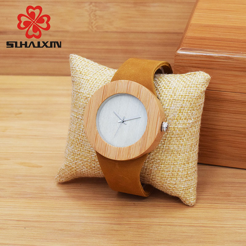 SIHAIXIN Bamboe Houten Horloges Herenmode Quartz Horloges Lederen Top - Herenhorloges