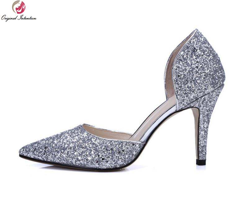Original Intention Women Pumps Glitter Pointed Toe Thin Heels Pumps Pink Red Gold Silver Black Fashion Shoes Woman US Size 4-9