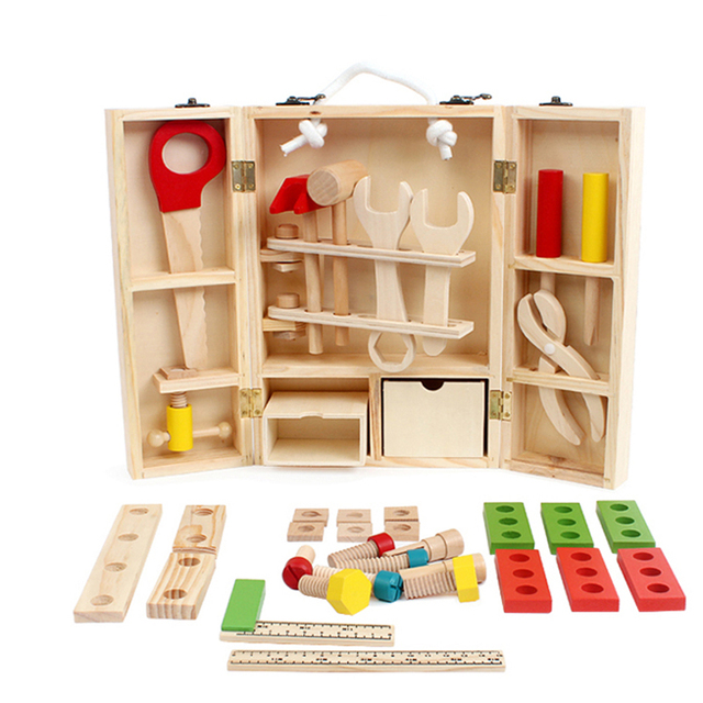 Kids Toys Disassembly And Assembly Toy Wooden Carpenter Tool Set Children's 3D Puzzle Box